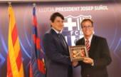 """Azərbaycan nümayəndə heyətinin """"FC Barcelona"""" futbol klubuna rəsmi ziyarəti baş tutub."""
